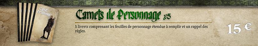 Carnets du personnage x 5, exclusifs PP