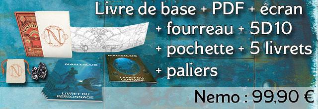 Nemo : Livre de base + Fourreau + Ecran + 5D10 + 5 livrets + Paliers
