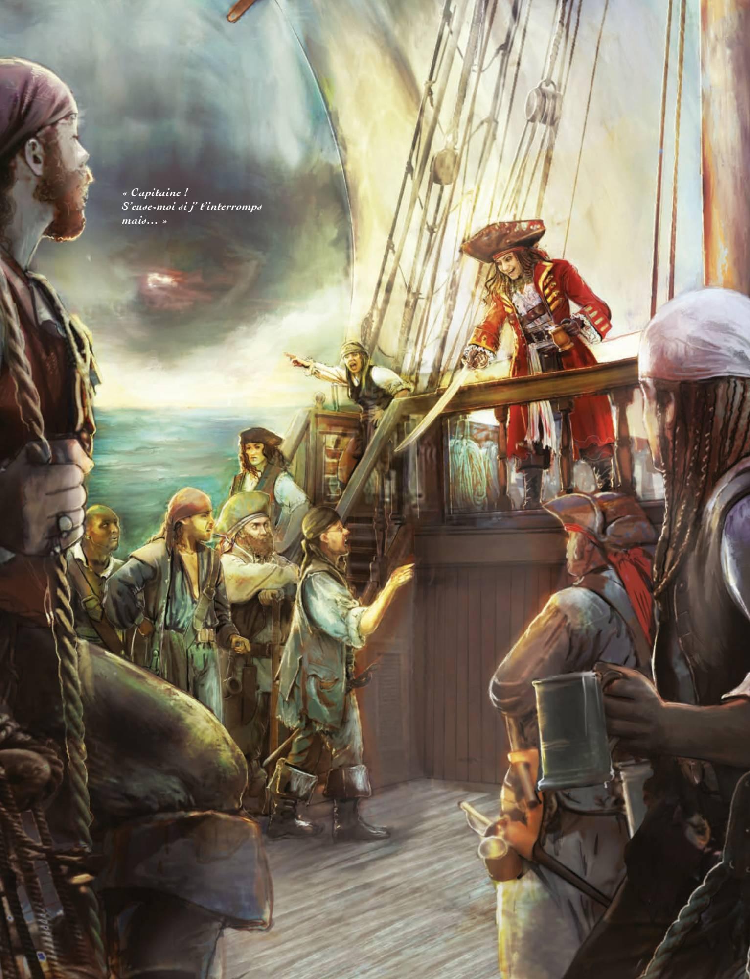 Histoires de pirates et de leur capitaine sur un navire dans Capitaine Vaudou